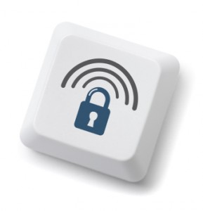 Wireless computer security key. Isolated on white with clipping path.